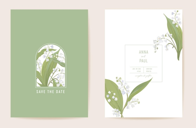 Mariage lys floral save the date set. fleurs de printemps de vecteur, feuilles de carte d'invitation boho. cadre pastel de modèle aquarelle, couverture de la saint-valentin, design d'arrière-plan moderne, papier peint