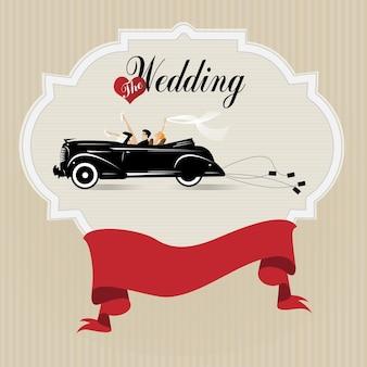 Mariage, mari et femme en voiture