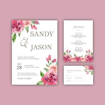 Mariage mariage carte mariage floral carte heureuse carte, détail de rsvp.