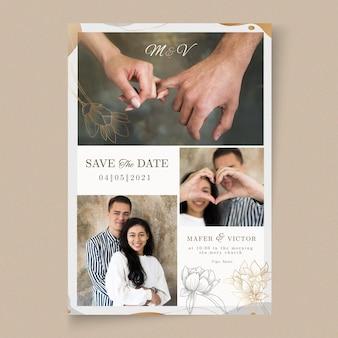 Mariage Minimal Enregistrer La Carte De Date Vecteur gratuit