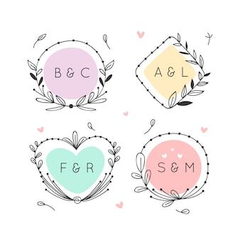 Mariage monogrammes minimaliste dans des couleurs pastel