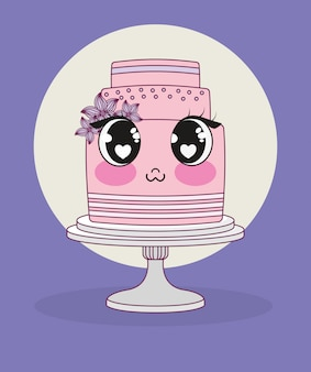 Mariage avec personnage de gâteau kawaii