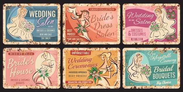 Mariage, plaques de mariage vintage, mariées, fleurs