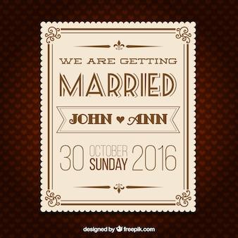 Mariage rétro carte d'invitation