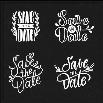 Mariage sauvegarder la collection de lettrage de date