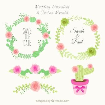 Mariage succulent et cactus couronne