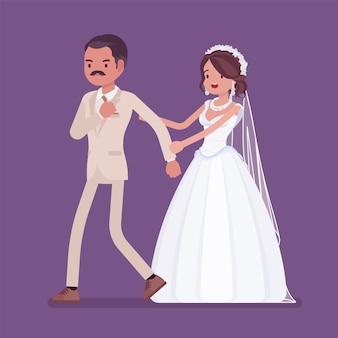 Marié en colère laissant la mariée lors de la cérémonie de mariage