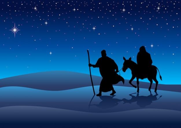 Marie et joseph, voyage à bethléem