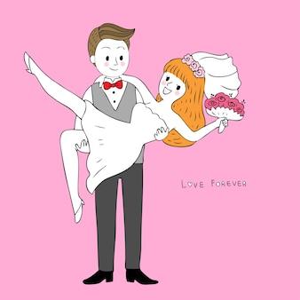 Marié mignon de bande dessinée porte la mariée et le vecteur de mariage.