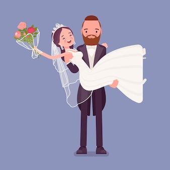 Marié portant la mariée sur la cérémonie de mariage