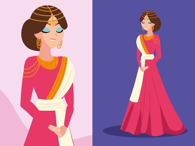 Mariée arabe élégante en robe rouge