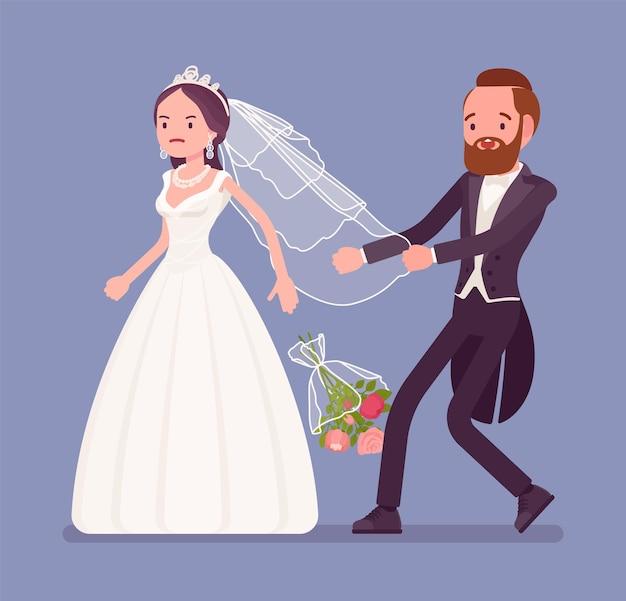 Mariée en colère laissant le marié sur la cérémonie de mariage