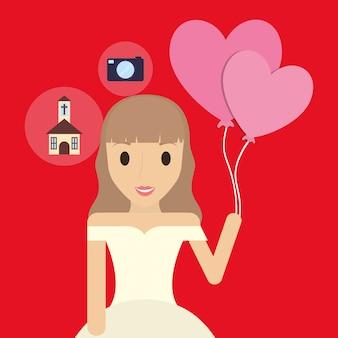 Mariée de dessin animé tenant un ballon et icônes connexes autour