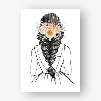 Mariée Dessinée à La Main Avec Une Belle Illustration Aquarelle De Fleur De Coiffure Vecteur gratuit