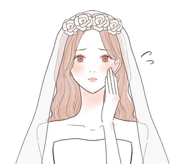 Mariée en difficulté avec ses mains sur ses joues. sur un fond blanc.