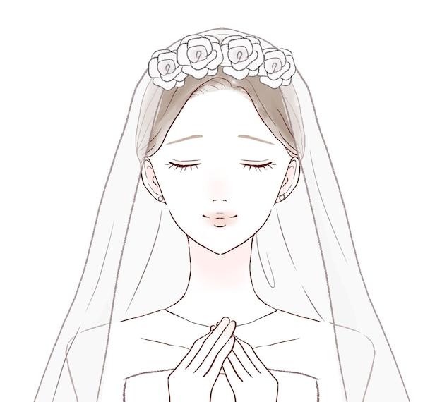 La mariée est soulagée avec ses mains sur sa poitrine. sur un fond blanc.