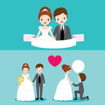 Mariée et marié avec diverses actions dans l'ensemble de vêtements de mariage