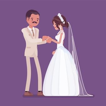 Mariée, marié échange de cérémonie d'alliances