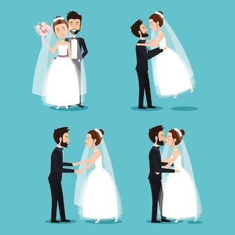Mariée et le marié ensemble couples de mariage romantique