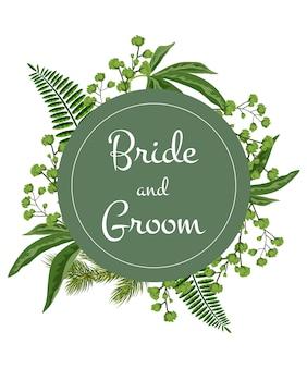 Mariée et le marié lettrage sur cercle vert avec de la verdure sur fond blanc.