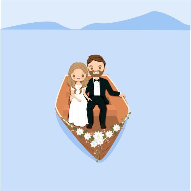 Mariée et le marié mignon sur le bateau avec le personnage de dessin animé de fleur