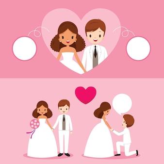 Mariée et le marié de peau noire avec diverses actions dans l'ensemble de vêtements de mariage