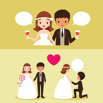 Mariée et marié à peau noire avec diverses actions dans l'ensemble de vêtements de mariage