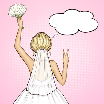 Mariée pop art en robe de mariée avec bouquet