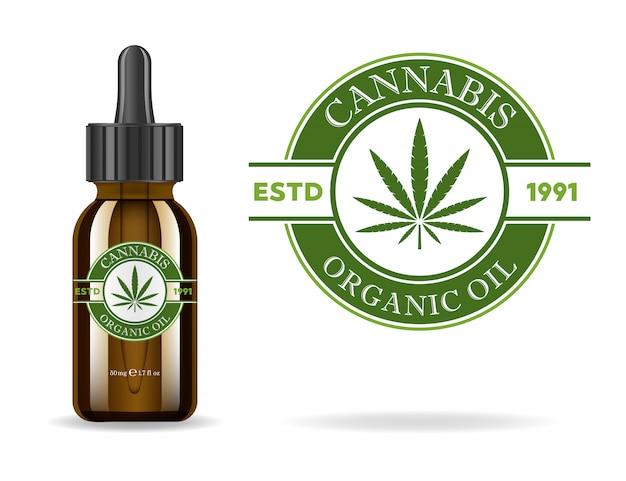 Marijuana, cannabis, huile de chanvre. bouteille en verre marron réaliste avec extrait de cannabis. étiquette de produit d'icône et modèle graphique de logo. illustration isolée.