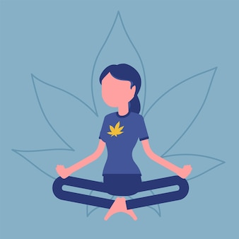 Marijuana ou drogue de cannabis à des fins médicales et récréatives. une femme se relaxant dans une pose de lotus, un patient heureux soulage les symptômes de l'herbe fumante, bénéficie d'un effet narcotique. illustration vectorielle, personnage sans visage