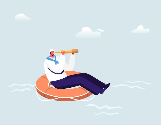 Marin flottant sur une énorme bouée de sauvetage à la recherche de spyglass dans l'océan