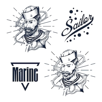 Marin homme main dessiner illustration vectorielle