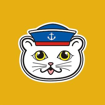 Marin, illustration de chat mignon pour le t-shirt ou d'autres utilisations