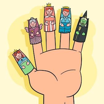Marionnette à doigt dessiné à la main