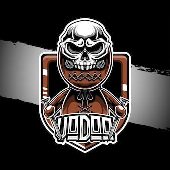 Marionnette vaudou logo esport avec icône de personnage de chapeau de crâne