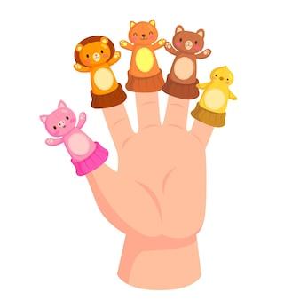Marionnettes à doigt de dessin animé illustrées