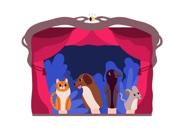 Marionnettes à main ou animaux manipulés par le marionnettiste au théâtre isolé sur fond blanc. spectacle divertissant et conte pour les enfants. illustration vectorielle de plat coloré dessin animé
