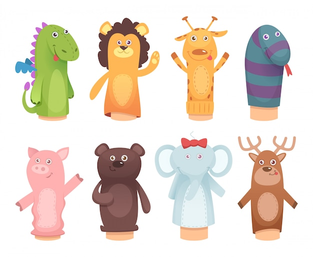 Marionnettes à mains. jouets de chaussettes pour enfants personnages de jeux d'enfants drôles isolés