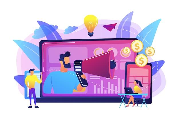 Marketer diffusant des publicités avec un mégaphone et des appareils. marketing cross-device, analyse marketing cross-device et concept de stratégie sur fond blanc. illustration isolée violette vibrante lumineuse