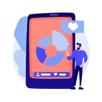 Marketing de blogs sur les réseaux sociaux. développement de la conception d'applications pour smartphone. caractère d'influenceur de réseau en ligne. commercial internet, adepte, aime attirer l'illustration du concept