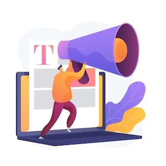 Marketing de contenu et médias de masse. rédaction de publicité sur internet. article promotionnel, actualités, diffusion. blogger, personne tenant un mégaphone.