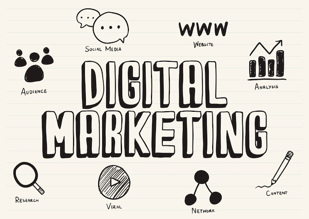 Marketing digital gribouillé sur un bloc-notes