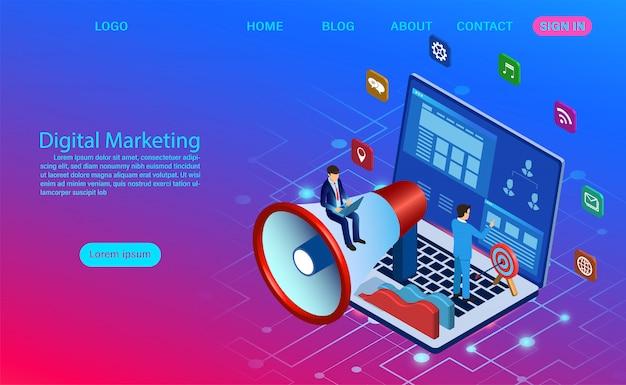 Marketing digital pour bannière et site web. analyse commerciale, stratégie de contenu et gestion. illustration plat de campagne de médias numériques avec icône