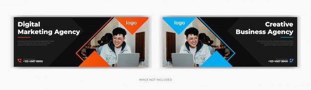 Marketing d'entreprise médias sociaux post facebook page de couverture chronologie conception de bannière publicitaire web
