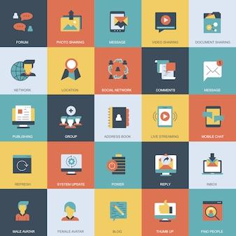 Marketing internet et jeu d'icônes de réseaux sociaux