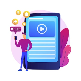 Marketing internet réussi. données, applications, e-services, multimédia. icône colorée de réseau social aime et adeptes attraction.