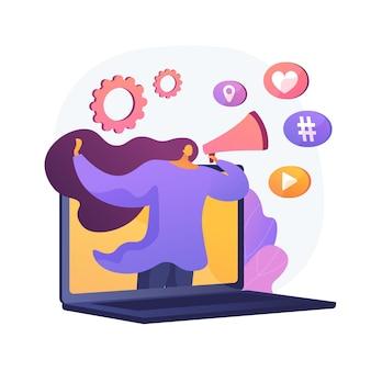 Marketing en ligne. fille avec haut-parleur faisant l'annonce. publicité, commercial, notification. utilisation du réseau social pour promouvoir les produits.