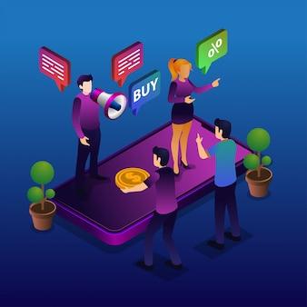 Marketing en ligne isometic
