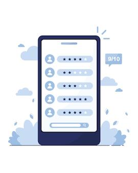 Marketing en ligne. téléphone avec une page d'avis sur les clients, les vendeurs, les travailleurs. recherchez un employé. offre d'emploi. modèle de note. profils des membres. bleu