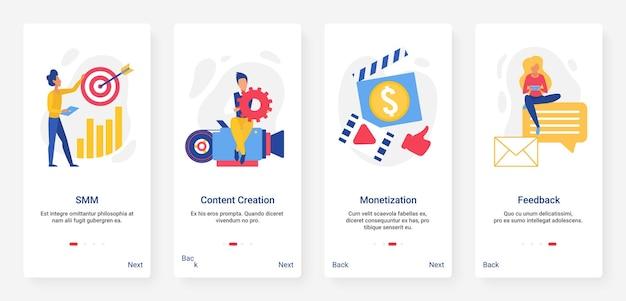 Marketing des médias sociaux, cible smm, ensemble d'écran d'application mobile de contenu créatif
